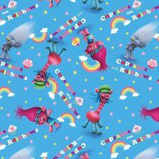 """1 yard Dreamworks Trolls Poppy """"Cupcake Rainbows"""" Fabric"""