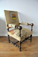 Antique French Oak Fireside Throne Chair With Coffee Sack Upholstery