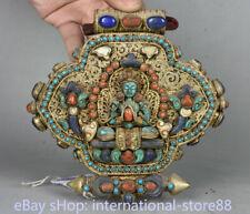 6 inch Old Tibetan Filigree Coral Temple Amitayus Longevity Goddess Gawu Box