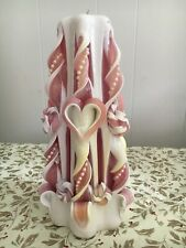 Original Sculpted Light Pink and White with Hearts andWhite Pearls Medium Candle