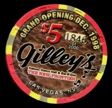 $5 Las Vegas The New Frontier Gilley's Grand Opening Casino Chip - Uncirculated