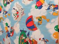 Vintage Disney Mickey Mouse and Friends Hot Air Balloon TWIN flat sheet Dumbo