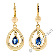 New 14K Yellow Gold Pear Cut Bezel Set Blue Topaz Open Tear Drop Dangle Earrings