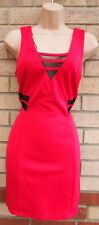 PRIMARK PINK FUCHSIA BLACK MESH DETAIL SLEEVELESS BODYCON PARTY PENCIL DRESS 14