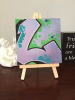 """Graffiti Art """"L"""" 4""""x4"""" On Easel Original One Of A Kind Paint And Marker"""