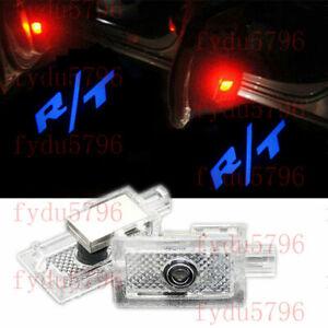 2X Blue R/T Logo Car LED Door Step Courtesy Shadow Laser Light For Dodge Charger