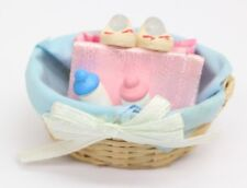 NEW Dolls House Miniatures Filled Baby Basket Decoration 1/12th Scale FREE P&P