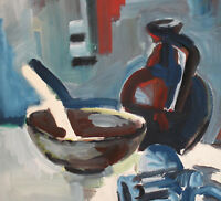 EXPRESSIONIST STILL LIFE WITH BOWL AND PITCHER VINTAGE GOUACHE PAINTING