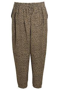 Ladies Womens Leopard Print Trousers Animal Khaki Green Lightweight Pants RRP 18