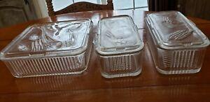 Vintage Federal Glass Ribbed Refrig Dishs Set of 3 Vegetable with Lids