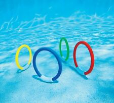Intex Underwater Swimming Diving Pool Water Toy Rings 4 Pack, Multiple Colors