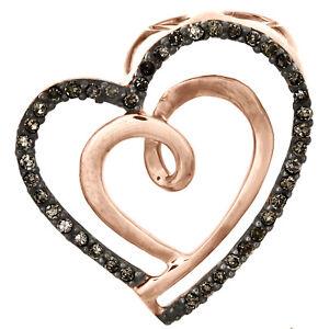 """10K Rose Gold Brown Diamond Double Heart Swirl Slide Pendant 0.75"""" Charm 1/6 CT"""