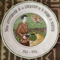 1944-1994 Assiette ✤ Anniversaire de la Libération / St Pierre le Moutier ✤ FFI