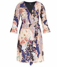 City Chic Ladies Grandiose Wrap Dress size 16 Small Colour Navy Print