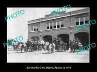 OLD LARGE HISTORIC PHOTO OF THE BAR HARBOR FIRE BRIGADE STATION c1910, MAINE