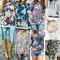 Women's Hooded Long Sleeve Floral Printed Pullover Sweater Casual Sweatshirts