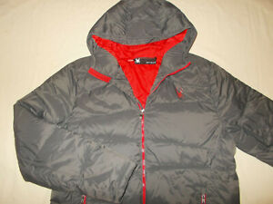 NEW SPYDER GRAY FULL ZIP HOODED QUILTED INSULATED NYLON SKI JACKET MENS XL