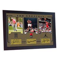 Muhammad Ali Tiger Woods Michael Jordan signed autograph The Greatest Framed