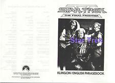 STAR TREK THE FINAL FRONTIER KLINGON/ENGLISH PRHASEBOOK BOOKLET 1989 EXCELLENT