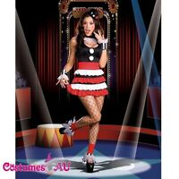 Ladies Circus Outift Cirque Jester Costume Clown Fancy Dress Halloween Party