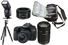 NEW Canon 80D + 18-55, 55-250, 50mm + Camera Bag + Flash + Tripod - UK DISPATCH