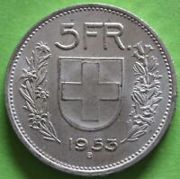 SUISSE 5 FRANCS 1953 B ARGENT °