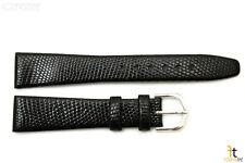18mm Genuine Black Lizard Skin Watch Band Strap Silver Tone Buckle