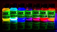 Blacklight Dye Paint 7 Color Pack UV NEON GLOW EFFECT! Liquid add acrylic medium