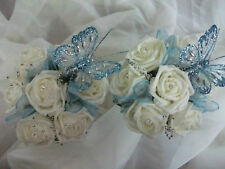 beautiful baby blue and ivory bridesmaid bouquets x 2