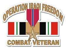 "Bronze Star Iraq Combat Veteran 3.8"" Military Sticker / Decal"