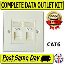 CAT6 2 VIE dati rete OUTLET KIT, FACEPLATE, moduli. LAN Ethernet per montaggio a parete
