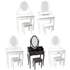 Nishano Dressing Table Drawer Stool Mirror Bedroom Makeup Desk White Black