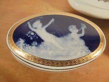 THARAUD Limoges Porcelaine Vintage 50 Rare Bonbonnière Putti Camée Bleu 1/3