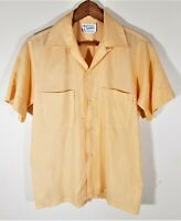 Vtg 50s 60s Kentfield Crystalaire Camp Shirt LOOP COLLAR Rockabilly Mod Sz. S
