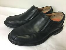 Men's Clarks Unstructured Size 7M Loafers Shoes Black Leather Side Stretch