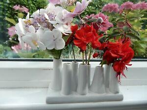 White Glazed Ceramic Multi 8 Mini Flower Vases Stand 18cm Florist Gardener
