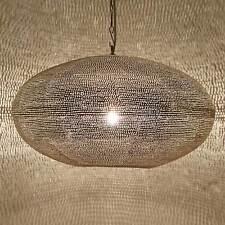 Orientalische Marokkanische Lampe Leuchte Laterne Hängeleuchte Gizeh D45 Silber