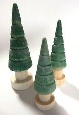 Tannenbaum Weihnachtsbaum 3er Baum Gruppe Holz gedrechselt grün beschneit