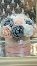 Pink, Grey White Hat Box With Artificial Roses Flower Arrangment Diamante Detail