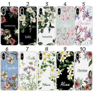 PERSONALISED NAME FLORAL BOTANICAL WHITE CASE FOR SAMSUNG S10 10e 10 Plus Set-1