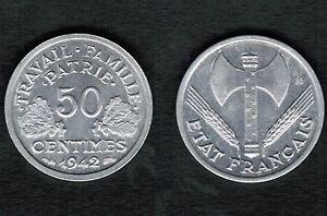 Piece de 50 Centimes BAZOR 1942 En tres bon etat Brillante