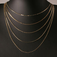 Gold 16-24 Inches 2mm Slim Thin Box Chain Necklace Jewelry For Womens Mens