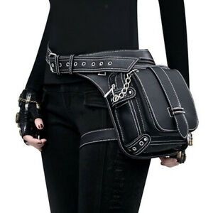 Steampunk PU leather shoulder tote Gothic rock belt bag belt pouch