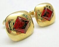 Vintage Cufflinks Signed Anson Square Gold Tone with Red Stone Center