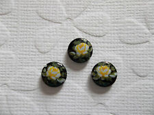 Vintage Cameos 8mm Yellow Rose on Black Glass Cabochons - Qty 6