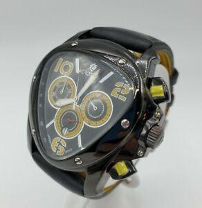 Rare Croton Octopus II Chronomaster Black/Yellow Leather Mens Lamborghini Homage