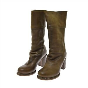 Fiorentini & Baker Olive Green Brown Leather Women's Boots Best 39 US 9 NEW