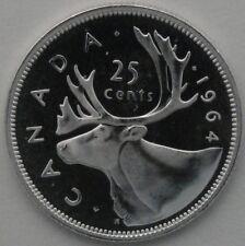1964 25C Canada 25 Cents, PROOF, Silver Canadian Quarter, BU, UNC, Silver, 13314