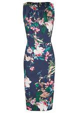 DANIEL HECHTER Damen Kleid mit Raffung am Kragen elegant Blumen-Muster Ärmellos