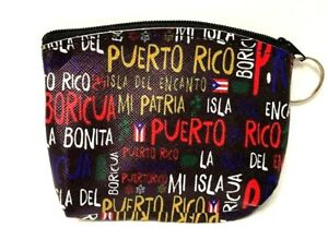 PUERTO RICO BORICUA ZIPPERED COIN WALLET & KEY RING KEY CHAIN PICK YOUR FAVORITE